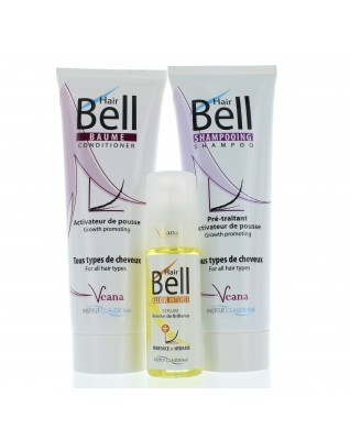Dieses Set enthält 1x 250ml Shampoo, 1x250ml Conditioner und 1x 50ml HairBell Booster Serum