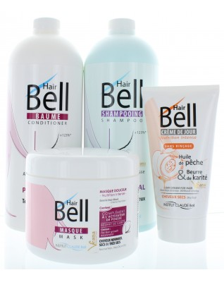 Dieses Set enthält 1x1000 ml Shampoo, 1x1000 ml Conditioner und 1x 150ml HairCream intensiv und 1x 500ml HairBell Maske