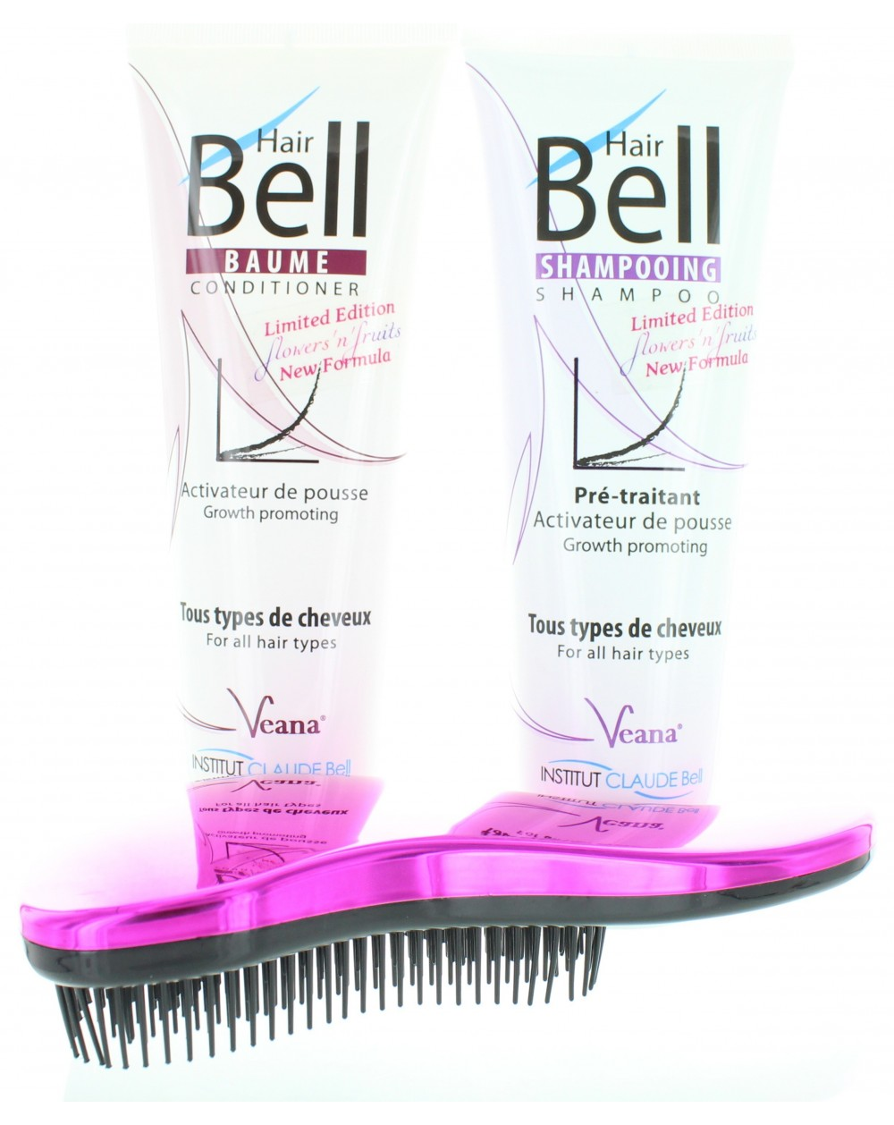 HairBell Shampoo + Conditioner flowers and fruits + DeTangler hot pink metallic