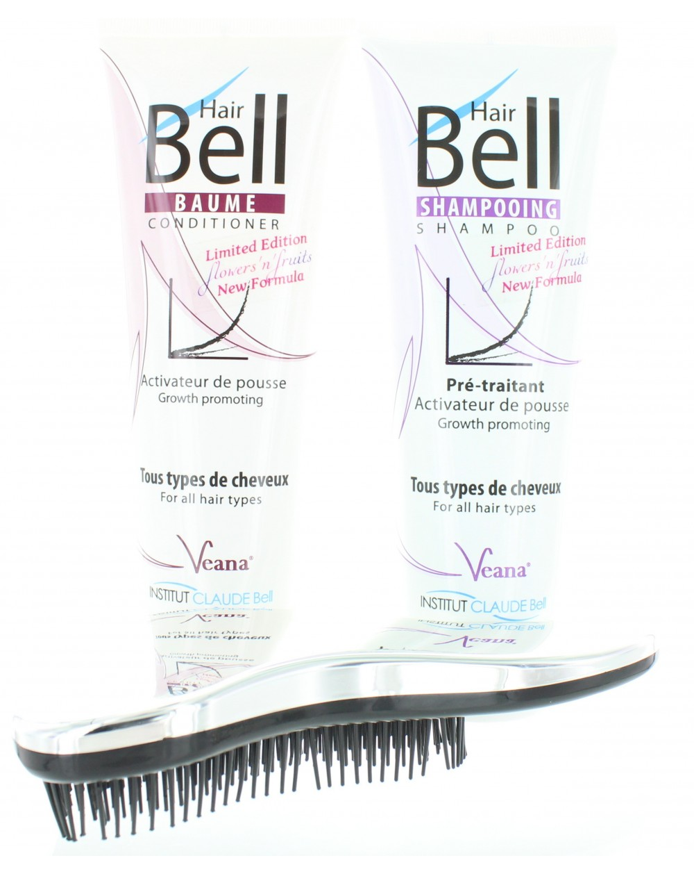 HairBell Shampoo + Conditioner flowers and fruits + DeTangler silber metallic