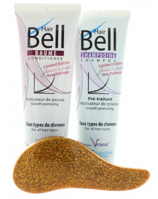 HairBell Shampoo + Conditioner flowers and fruits + DeTangler gelb glitter metallic