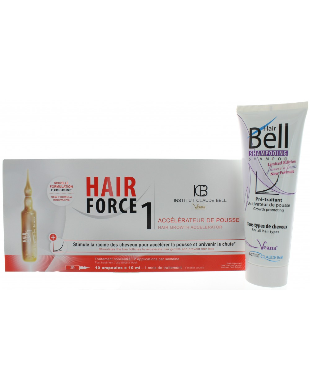 HairBell Shampoo flowers'n'fruits + Hair Force One - Serum Ampullen
