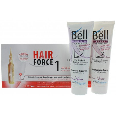 HairBell Shampoo+Conditioner flowers'n'fruits + Hair Force One - Serum Ampullen