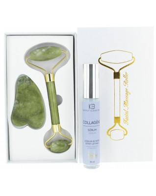 Gua-Sha JADE Roller + Collagen Serum (15ml)
