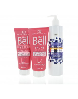 Hyaluronsäure Blaubeer Shampoo 500ml Anti-Gelbstich + HairBell Shampoo & Conditioner 2x200ml