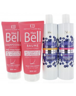 Hyaluronsäure Blaubeer Haarshampoo + Haarmaske 2x300ml Anti-Gelbstich + HairBell Shampoo & Conditioner 2x200ml