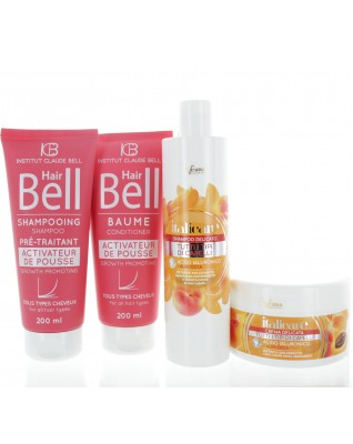 Hyaluron Haarshampoo & Haarmaske mit Aprikosenextrakt (2x300ml) + HairBell Shampoo & Conditioner (2x200ml)