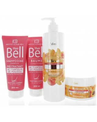 Hyaluron Haarshampoo 500ml & Haarmaske 300ml mit Aprikosenextrakt + HairBell Shampoo & Conditioner (2x200ml)
