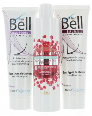 Hyaluron Shampoo mit Granatapfel 300ml + HairBell Shampoo & Conditioner 2x250ml