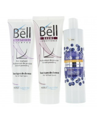Hyaluronsäure Blaubeer Shampoo 300ml Anti-Gelbstich + HairBell Shampoo & Conditioner 2x250ml