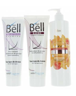 Hyaluron Shampoo mit Aprikosenextrakt (500ml) + HairBell Shampoo & Conditioner (2x250ml)
